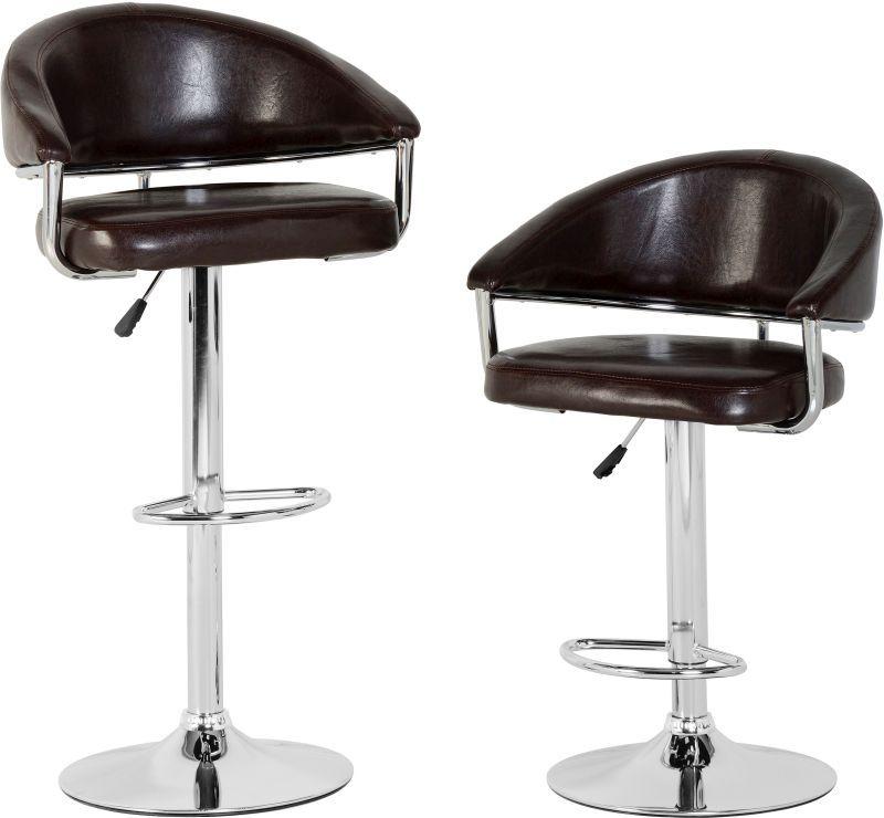 Stupendous Brooklyn Swivel Bar Chair With Gas Lift Pair Brown Chrome Creativecarmelina Interior Chair Design Creativecarmelinacom