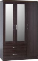 See more information about the Charles 3 Door 2 Drawer Mirrored Wardrobe - WALNUT