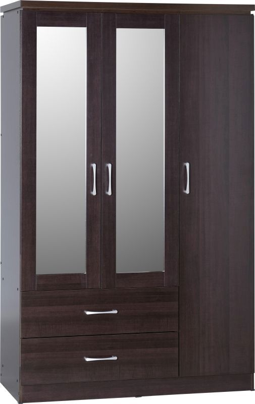Charles 3 Door 2 Drawer Mirrored Wardrobe - WALNUT