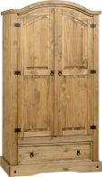 See more information about the Corona Mexican Style Wardrobe (2 Door 1 Drawer) - DISTRESSED WAXED PINE