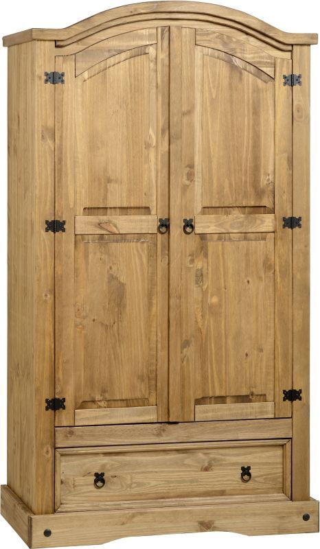 Corona Mexican Style Wardrobe (2 Door 1 Drawer) - DISTRESSED WAXED PINE
