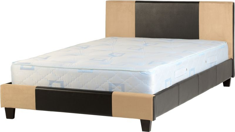 Melba Faux Leather Double Bed - Brown/Sand Microsuede