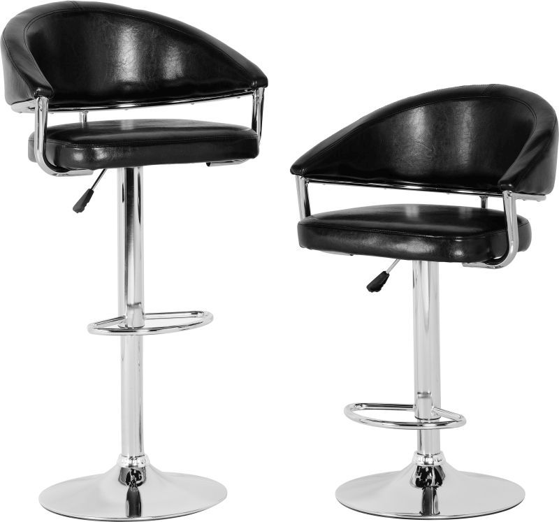 Brooklyn Swivel Bar Chair With Gas Lift (PAIR) - BROWN/CHROME