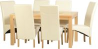 See more information about the Wexford 59 inch Dining Set - G1 - OAK\WALNUT\CREAM