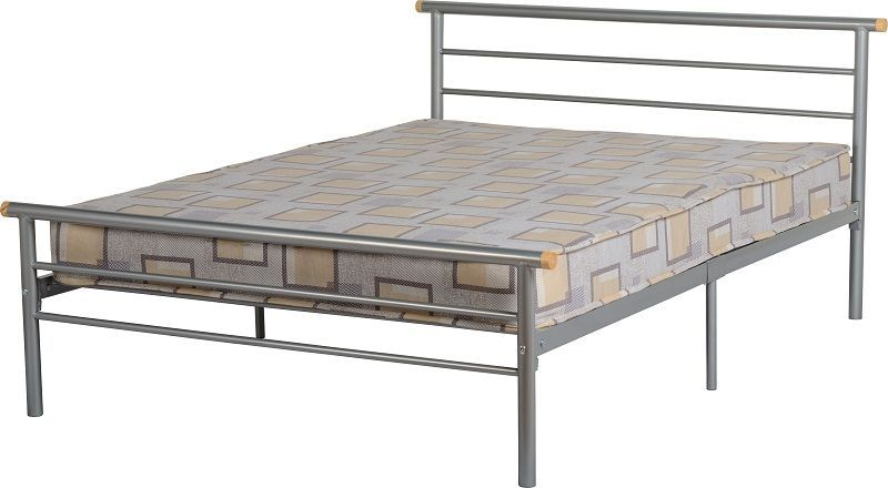 Orion Metal Double Bed - Silver