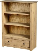 See more information about the Panama Contemporary Bookcase (1 Drawer) - NATURAL WAX
