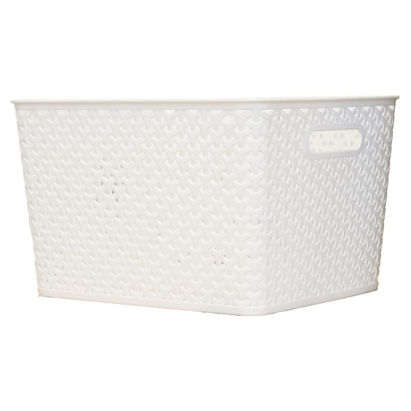 Rattan Look Storage Basket Large White