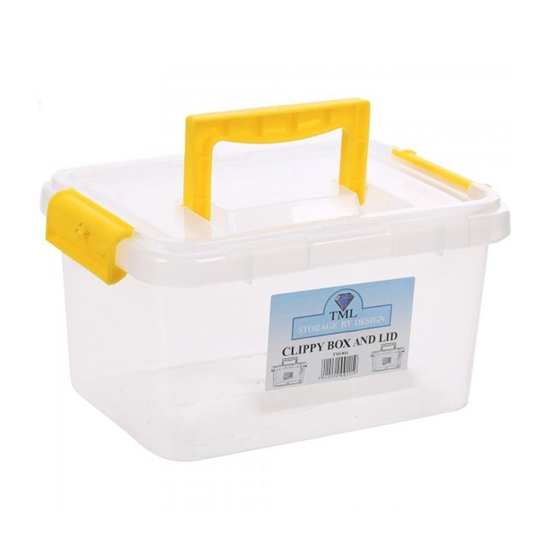 3.5L TML Stacking Plastic Storage Box Clear & Yellow Clip Lid
