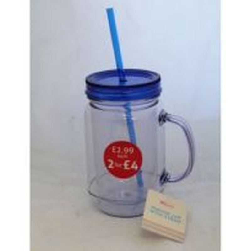 Mason Jar With Handle and Straw - Blue
