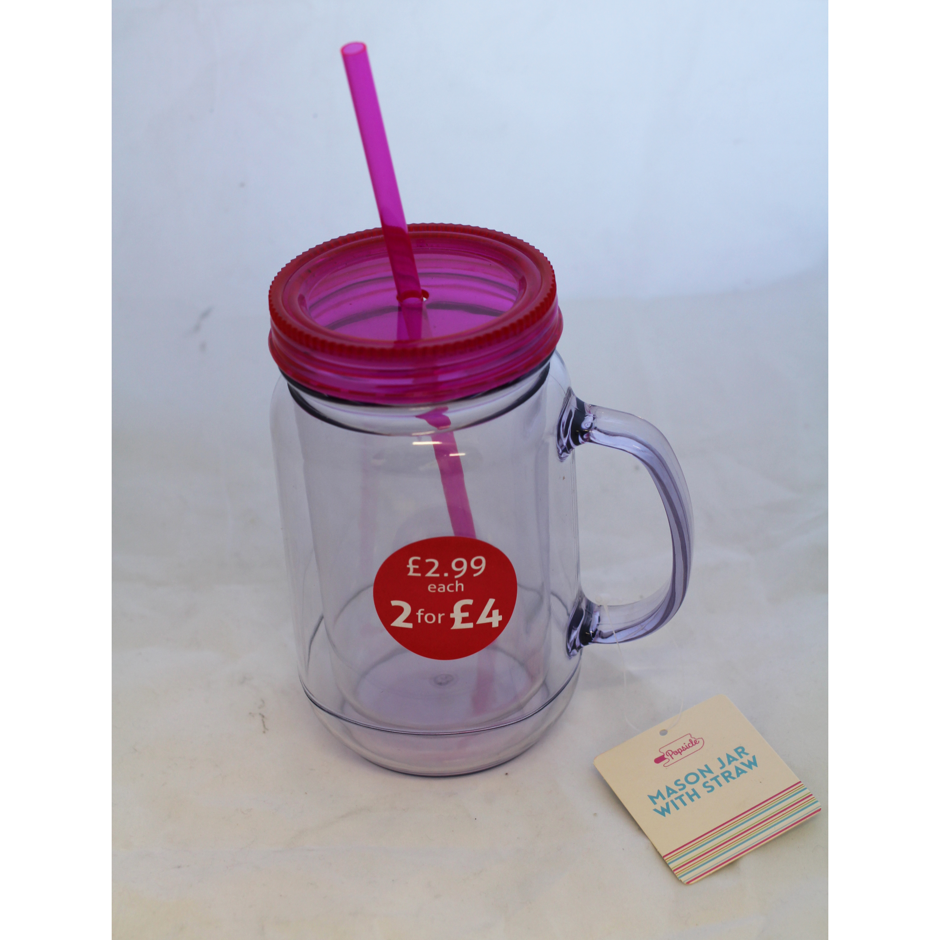 Mason Jar With Handle and Straw - Pink