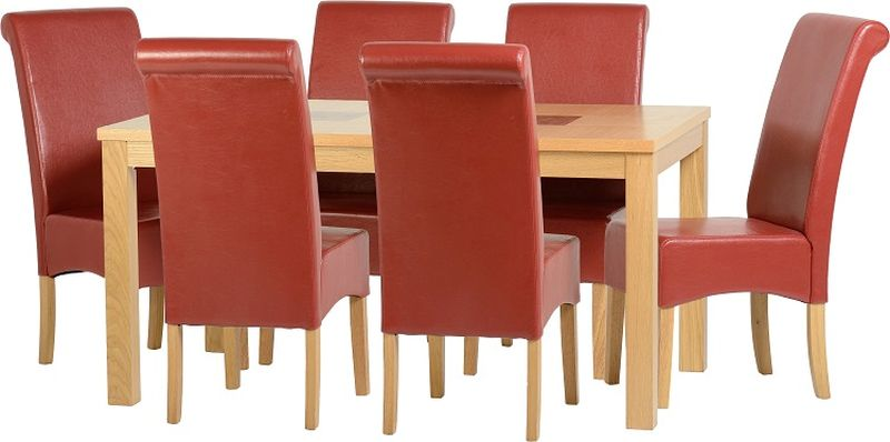 Wexford 59 inch Dining Set - G10 - OAK/WALNUT/RUSTIC RED