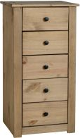 See more information about the Panama 5 Drawer Narrow Chest in Natural Wax