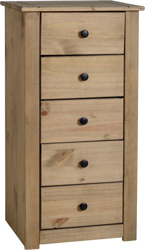 Panama 5 Drawer Narrow Chest in Natural Wax