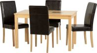 "See more information about the Wexford 47"" Dining Set in Oak Veneer/Walnut Inlay/Expresso Brown PU"