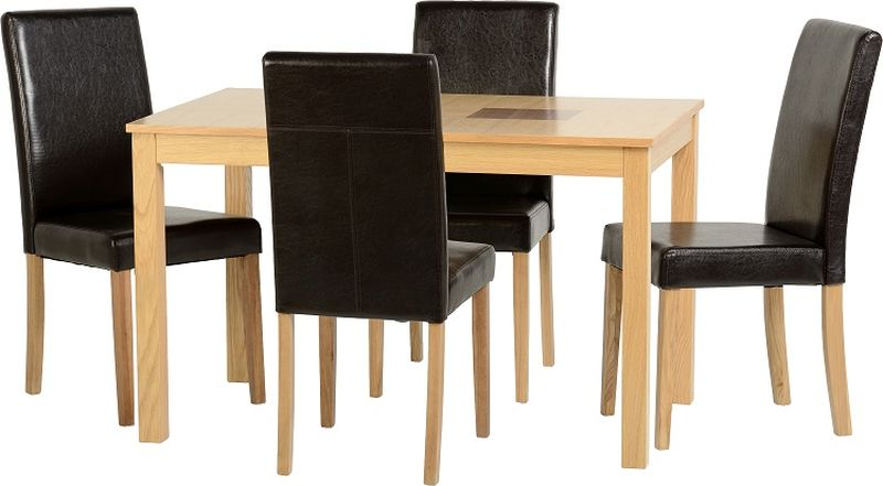 "Wexford 47"" Dining Set in Oak Veneer/Walnut Inlay/Expresso Brown PU"