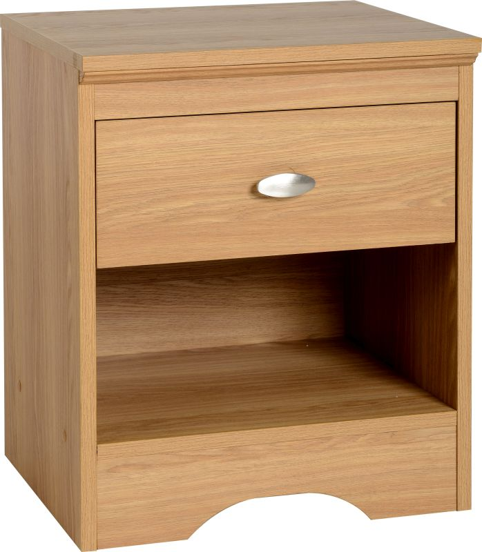 Regent 1 Drawer Bedside Cabinet in Teak Effect Veneer