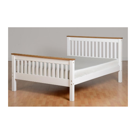 Monaco Double Bed High Foot End - White