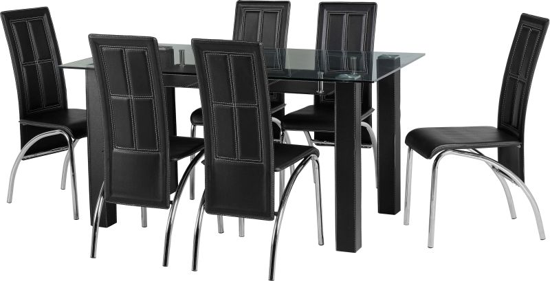 Stanton Dining Set in Clear Glass/Black/Chrome/Black PVC