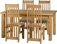 "See more information about the Tortilla 4'9"" Dining Set in Distressed Waxed Pine/Cream PU"