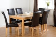 "See more information about the Wexford 59"" Dining Set - Dunoon Chair in Oak Veneer/Walnut Inlay/Expresso Brown PU"