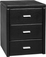 See more information about the Prado 3 Drawer Bedside Chest in Black PU