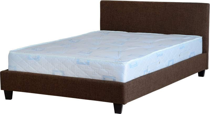Prado King Size Bed - Dark Brown Fabric