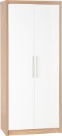 See more information about the Seville 2 Door Wardrobe in Light Oak Veneer/White High Gloss