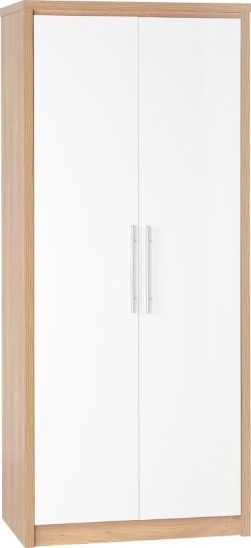 Seville 2 Door Wardrobe in Light Oak Veneer/White High Gloss