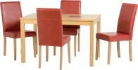"See more information about the Wexford 47"" Dining Set in Oak Veneer/Walnut Inlay/Rustic Red PU"