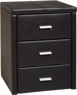 See more information about the Prado 3 Drawer Bedside Chest in Expresso Brown PU
