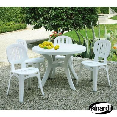 Toscana Garden Furniture Set (Supplied with 4 White Elba Chairs)