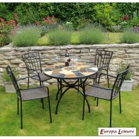 See more information about the Pomino Outdoor Garden Table Furniture Set & 4 Malaga Chairs