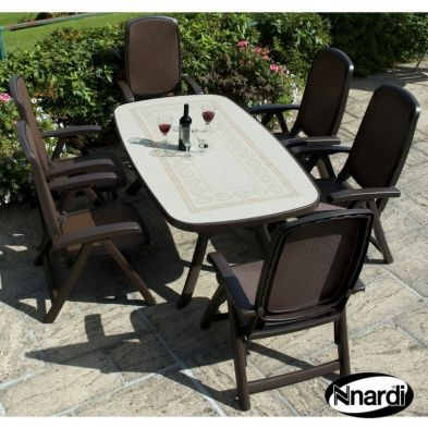 Toscana 165 Garden Furniture Set (Ravenna style with 6 Coffee coloured Delta Chairs)
