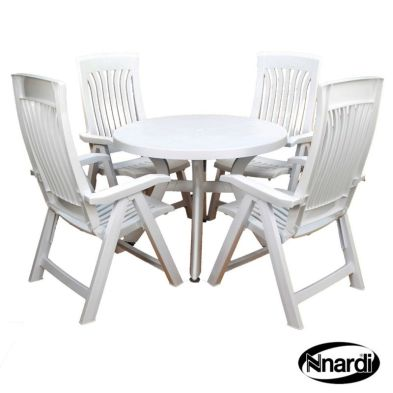 Toscana 100 Garden Furniture Set (Supplied with 4 White Flora Chairs)