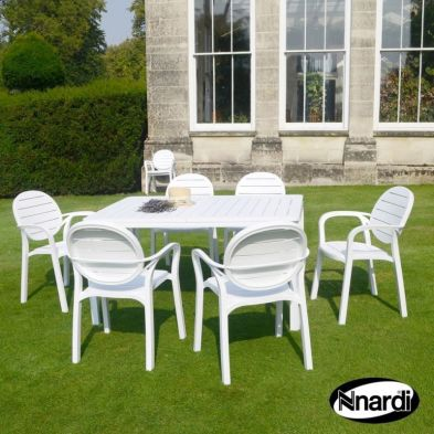 Alloro Garden Furniture Set (Supplied with 6 White Palma Chairs)