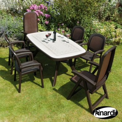 Toscana 165 Garden Furniture Set (Coffee colour with Ravenna design supplied with 2 Delta & 4 Beta Chairs)