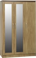 See more information about the Charles 3 Door All Hanging Wardrobe in Oak Effect Veneer with Walnut Trim