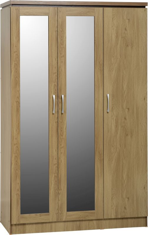 Charles 3 Door All Hanging Wardrobe in Oak Effect Veneer with Walnut Trim