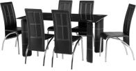 See more information about the Bradford Dining Set in Black Glass\Black\Chrome\Black PVC