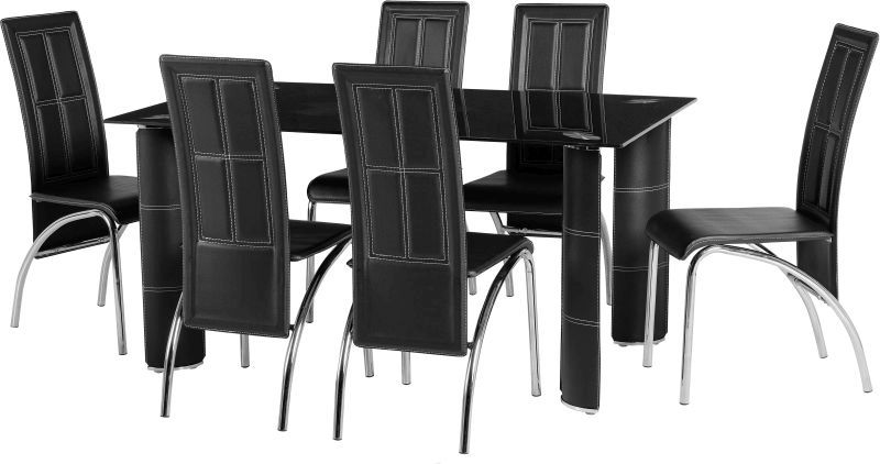 Bradford Dining Set in Black Glass\Black\Chrome\Black PVC