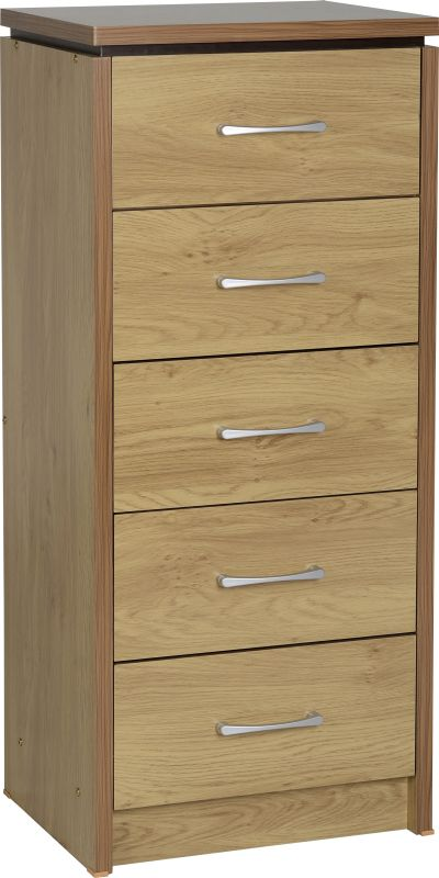 Charles 5 Drawer Narrow Chest in Oak Effect Veneer with Walnut Trim