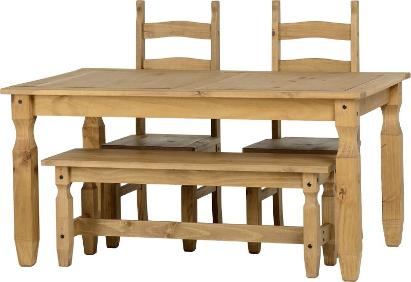 Corona 5ft Dining Set With 4ft Bench And 2 Chairs in Distressed Waxed Pine