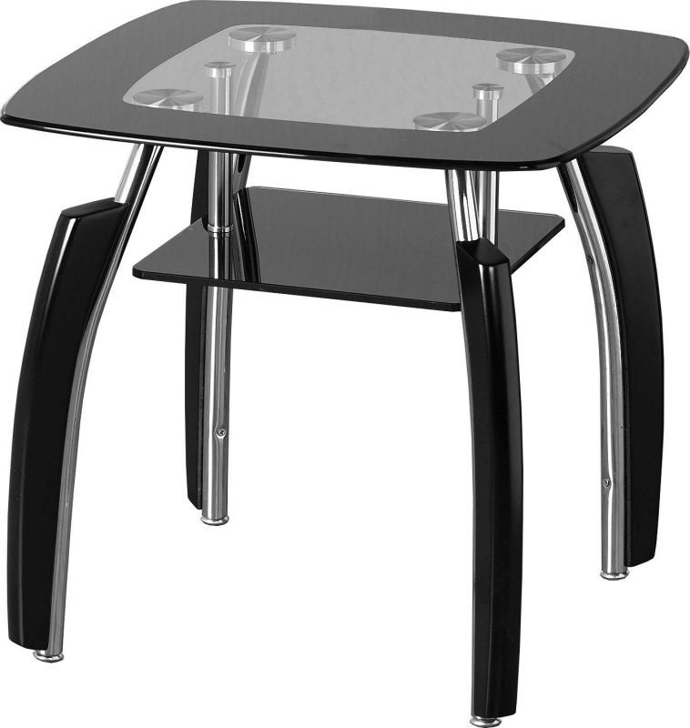 Elena Lamp Table in clear glass with black border