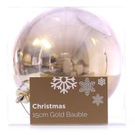 See more information about the Festive Christmas Decoration Plastic Ball - Gold (15 cm) - Plain