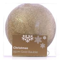 See more information about the Festive Christmas Decoration Plastic Ball - Gold (15 cm) - Glitter