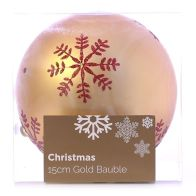 See more information about the Festive Christmas Decoration Plastic Ball - Gold (15 cm) - Snowflake