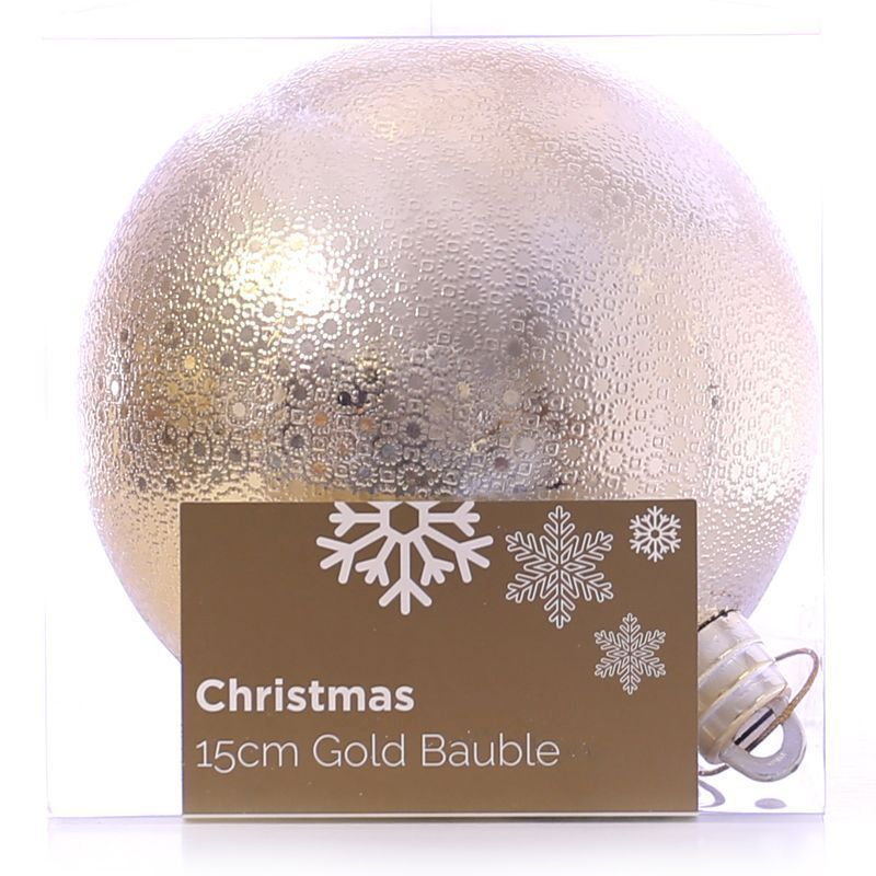Festive Christmas Decoration Plastic Ball - Gold (15 cm) - Pattern