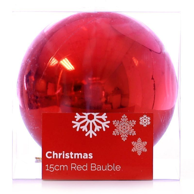Festive Christmas Decoration Plastic Ball - Red (15 cm) - Plain