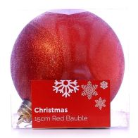 See more information about the Festive Christmas Decoration Plastic Ball - Red (15 cm) - Glitter