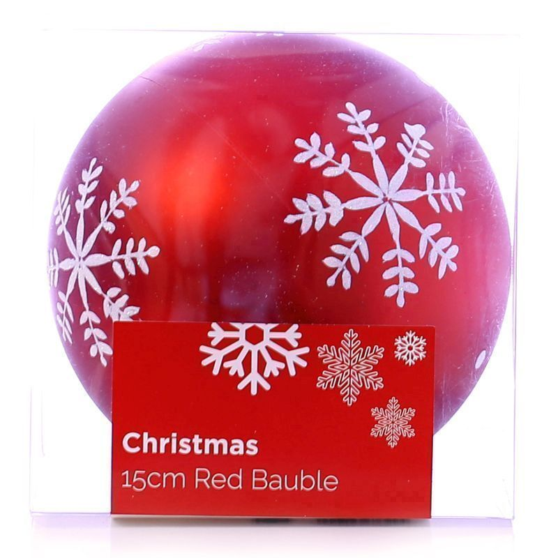 Festive Christmas Decoration Plastic Ball - Red (15 cm) - Snowflake